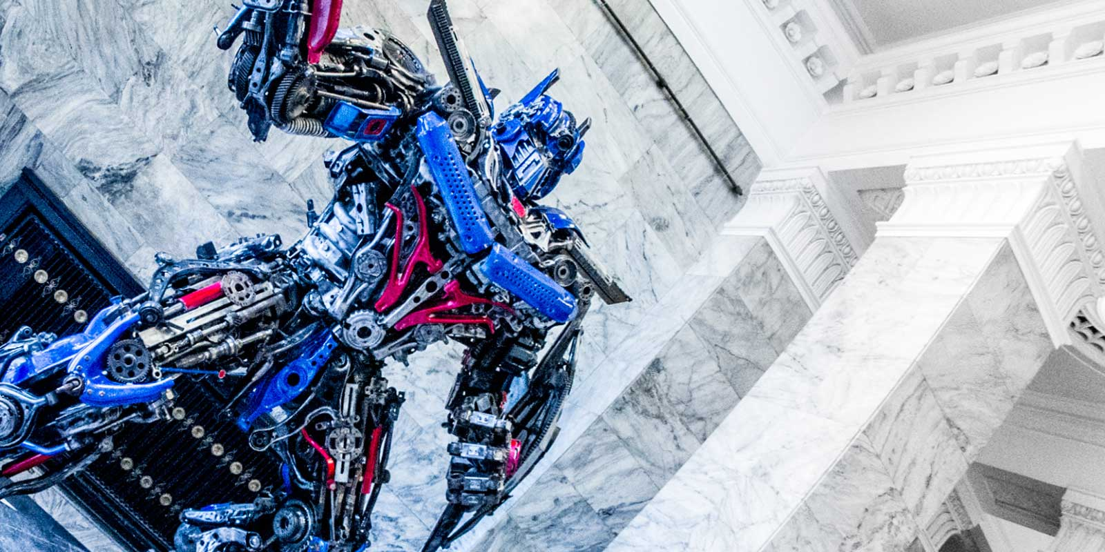 This giant steel Optimus Prime statue is right here in Warsaw